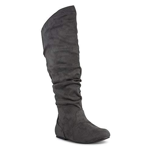 (Twisted Women's Shelly Wide Calf Faux Suede Knee-High Slouchy Boot - Grey, Size 10)