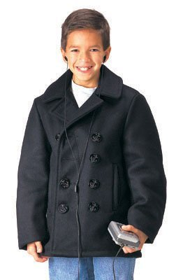 Rothco Kids Wool Peacoat, Black, X-Large