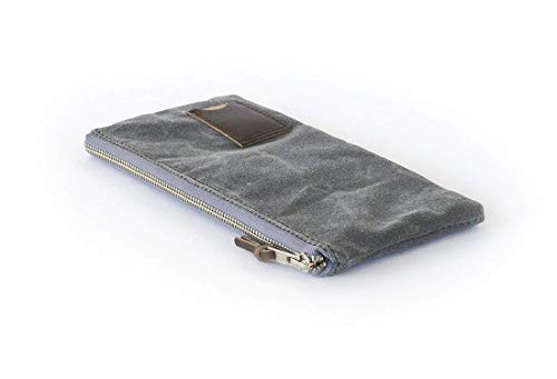 Waxed Canvas Flat Zipper Pouch: Compact, Travel, Organizer, Slate Grey - No. 239 (Made in the USA)