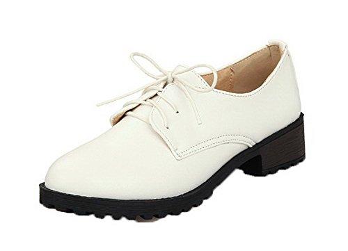 Allhqfashion Zapatos De Tacón Cerrado Con Cordones De Pu Para Mujer Zapatos De Tacón Alto Con Cordones Blancos