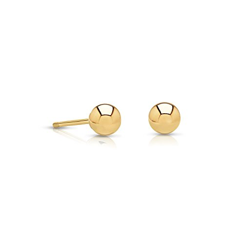 14k Gold Small Ball Stud Earrings with Secure and Comfortable Friction Backs, 3mm Diameter - Ball Earrings Stud Back Friction