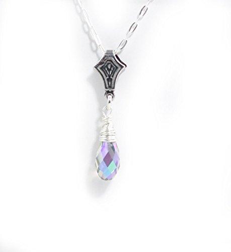 Clear Multi Color Teardrop Swarovski Crystal Sterling Silver Necklace - 18