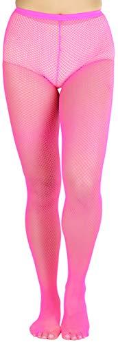 ToBeInStyle Women's Seductive Spandex Fishnet Pantyhose - Neon Pink - OS (Pantyhose Neon Fishnet)