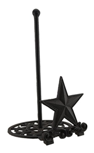 - Rustic Brown Cast Iron Western Star Paper Towel Holder