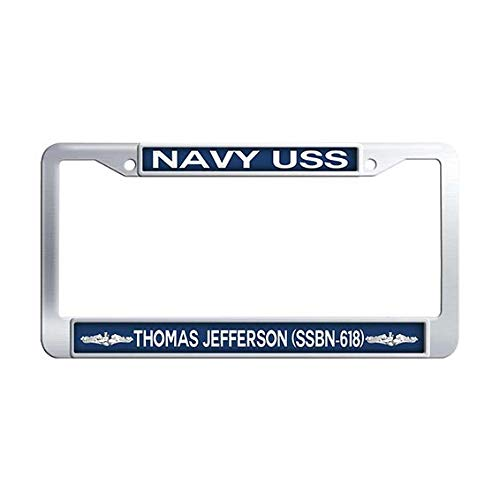 USS Thomas Jefferson SSBN-618 Auto License Cover Holder,Stainless Steel Car Tag Frame ()