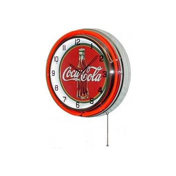 Amazon Com Neon 18 Quot Tin Wall Clock Coca Cola Red Home