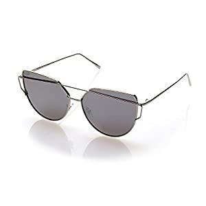NYS Collection Agate Court Metal Sunglasses, Silver Frame/Silver Lens