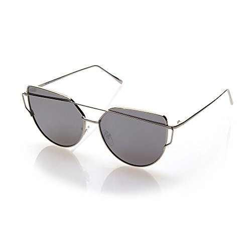 NYS Collection Agate Court Metal Sunglasses, Silver Frame/Silver - Nys Collection Sunglasses