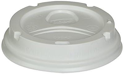 Dome Drink-Thru Lids, Fits 10, 12 & 16oz Paper Hot Cups, White, 500/Carton, Sold as 1 Carton, 500 Each per Carton