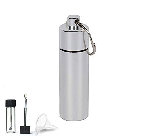 ASIO Glass Vial with Snuff Spoon in Waterproof Aluminum Pill Case | Small Glass Bottle with Mini Funnel in Keychain Pill Holder for Outdoor Travel (Silver)