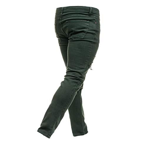 Elegante Con In Verde Di Casual Denim Pantaloni Cerniera Elecenty Jeans Uomo Da wWvag