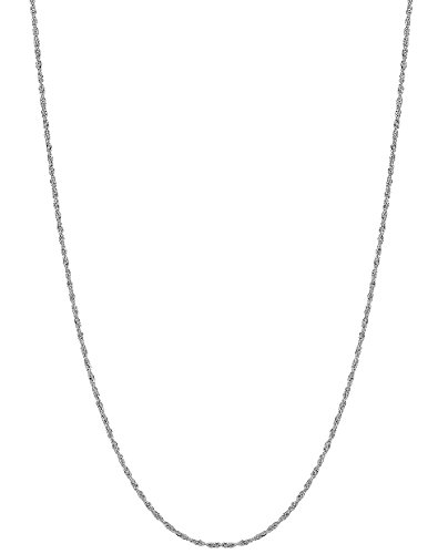 14k White Gold Singapore Pendant (14k Solid White Gold Singapore Rope Chain Necklace 1 Mm 22 Inches)