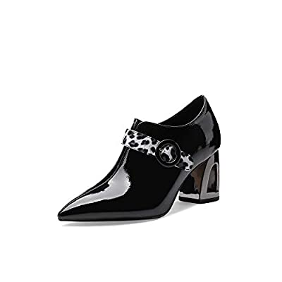 Nine Seven Patent Leather Women's Pointed Toe High Chhunky Heel Elegant Handmade Side Zip Buckle Cute Loafer Pumps