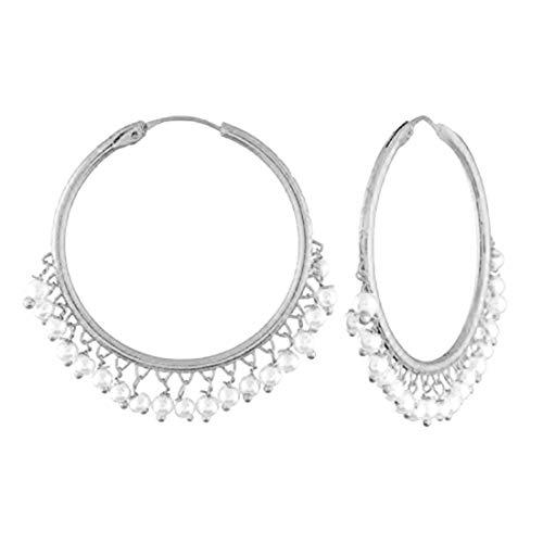 I Jewels Silver Plated Pearl Chandbali Earring for Women  E2628S