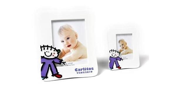 Lote de 10 Portafotos Bautizos Toy Poliresina Niño L - Detalles para bautizos portafotos recuerdos: Amazon.es: Bebé