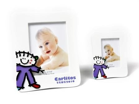Lote de 10 Portafotos Bautizos Toy Poliresina Niño L - Detalles para bautizos portafotos recuerdos