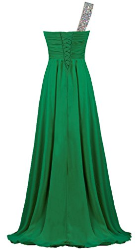 Prom One Dress Women s Evening Gown Chiffon Crystal Green Shoulder ANTS Long aH1Ffqww