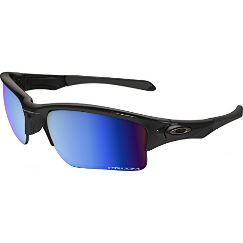 Oakley Men's Quarter Jacket Polarized Rectangular Sunglasses, Polished Black w/Prizm Deep Water Polarized, 61 mm ()