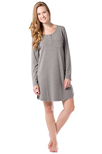 Fishers Finery Women's Henley Nightshirt; Long Sleeve; Above Knee (L HTH Gry, L) Light Heather - Cotton Pima Nightgown