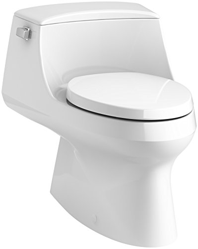 KOHLER K-3722-0 San Raphael One-Piece Elongated 1.28 GPF Toilet with Left-Hand Trip Lever, White (Low Profile Elongated Toilet)
