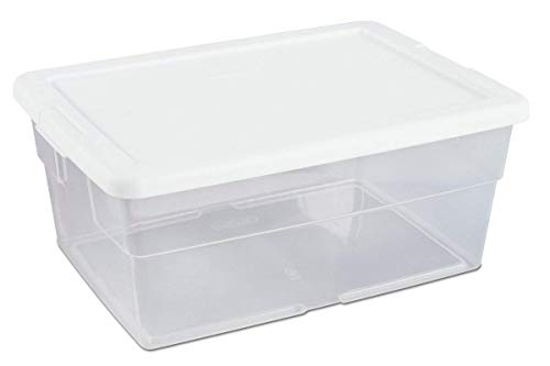 16448012 16 Quart/15 Liter Storage Box, White Lid Clear Base by STERILITE