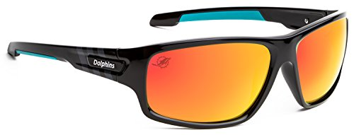 Officially Licensed NFL Sunglasses, Miami Dolphins, 3D Logo on Temple - 100% UVA, UVB & UVC - Eye Miami Glasses