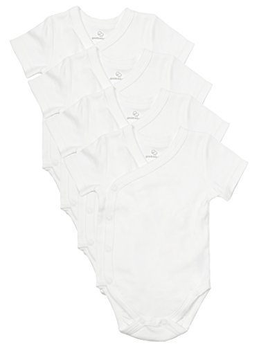 Baby Side Snap Bodysuit Set, Short Sleeve Cotton Boy Girl Kimono Onesie, 4 Pack, White - Short Sleeve, 3-6 Months