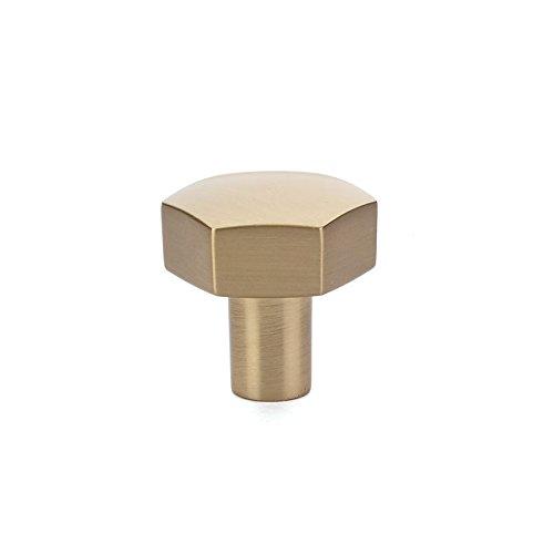 (Emtek 86457 Mod Hex Cabinet Knob Satin Brass (1-1/8