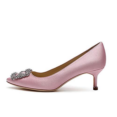 Amarantos Lutalica Women's Kitten Heel Pointed Toe Jeweled Buckle Bridal Wedding Satin Wedding Shoes Pink Size 9
