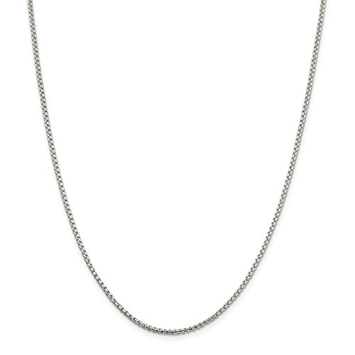 NYC Sterling Unisex Solid Italian 2mm Round Box Chain in Sterling Silver - Necklace Round Lock