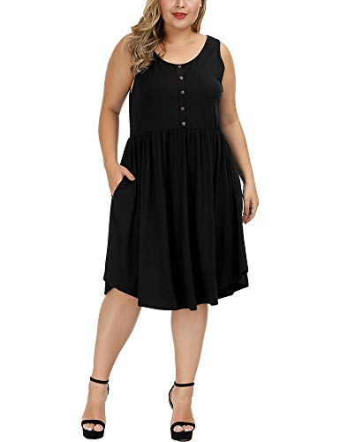 Allegrace Women's Plus Size Sleeveless Midi Dress Casual Flowy Button Up Summer V Neck Pleated Dresses Black 3X