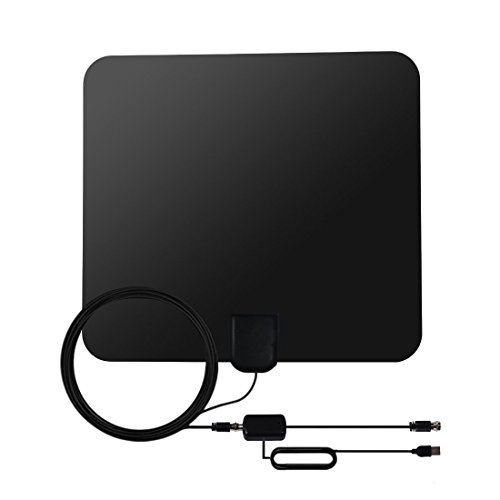 KOMRT HDTV Antenna - 50 Mile Range Digital TV Antenna with Exrerbal Amplifier for Strong Signal Reception - 16.5ft Coax (Channel 4 News Halloween)