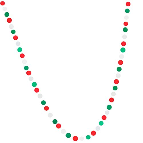 Bobee Red White and Green Christmas Party Decorations, Garland 58 dots, 14 feet
