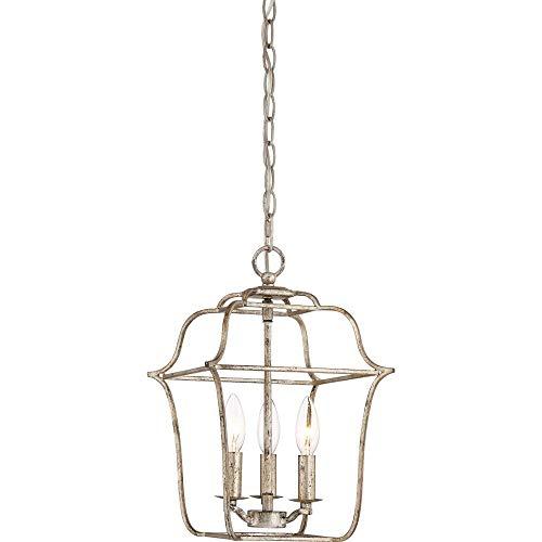 - Quoizel GLY5203CS Gallery Lantern Foyer Pendant Lighting, 3-Light, 180 Watts, Century Silver Leaf (15