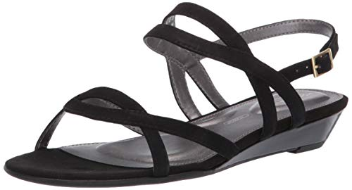 Rockport Women TM Zandra Slingback Wedge Sandal, Black, 11 M US
