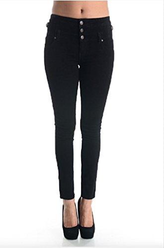 Eunina Women's High Waisted Stretch Skinny Denim Jeans (9, Black)