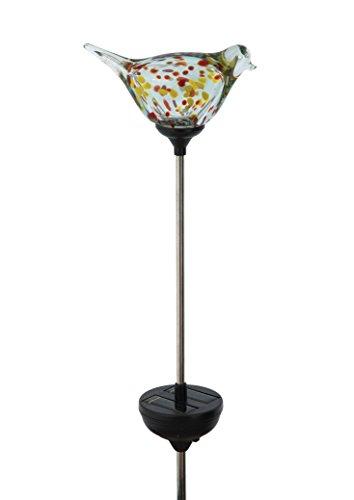 Russco III GS135452 Solar Powered LED Glass Bird Garden Stake, Red