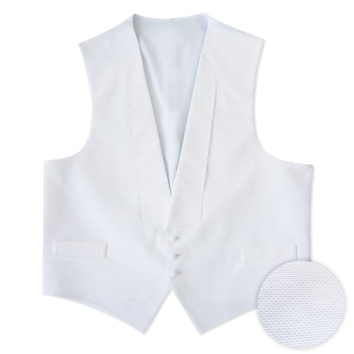 White Pique 3 Button Full Back Vest & Bow Tie (Large-Long, (Three Button Tie)