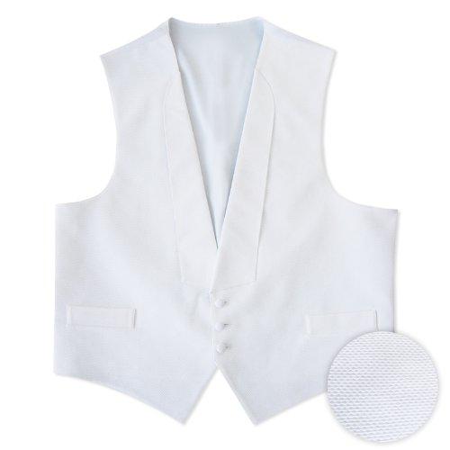 White Pique 3 Button Full Back Vest
