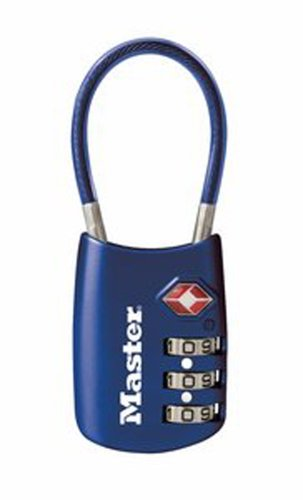 Master Bag (Master Lock Padlock, Set Your Own Combination TSA Accepted Cable Luggage Lock, 1-3/16 in. Wide, Assorted Colors, 4688D)