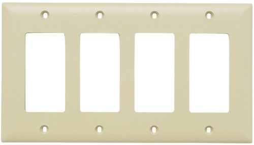 (Legrand - Pass & Seymour TP264ICC10 Trade Master Nylon Wall Plate with Four Decorator Openings, Four Gang, Ivory)