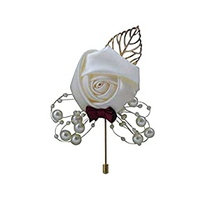 Flonding Boutonniere Buttonholes Bridegroom Groom Groomsman Men's Boutonnieres Best Man Boutineer with Pin for Wedding Prom Homecoming Dress Decoration 99
