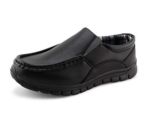 Jabasic Boys School Uniform Dress Shoes Slip-on (3W,Black)
