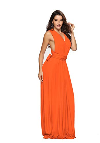 - Clothink Women Convertible Wrap Maxi Bridesmaid Party Dresses Orange Small