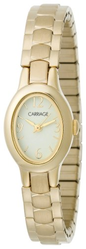 (Carriage by Timex Women's C3C222 Gold Tone Oval Case Faux MOP Dial Gold Tone Expansion Band Watch)