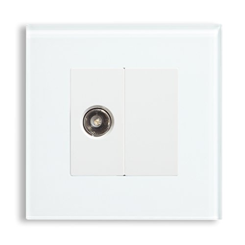 TV Socket 1 Gang Co-Axial Socket White Crystal Glass Panel 15 Years Guaranteed by BSEED (White)