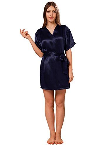 ElleSilk Women's Short Silk Robe, Premium Quality Silk Nightwear, Machine Washable, Navy, S