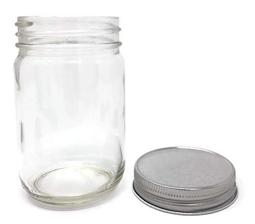 Glass Jar with Silver Metal Non-Button Lid 12-Pack by Packaging For You (Old Canning Jars)