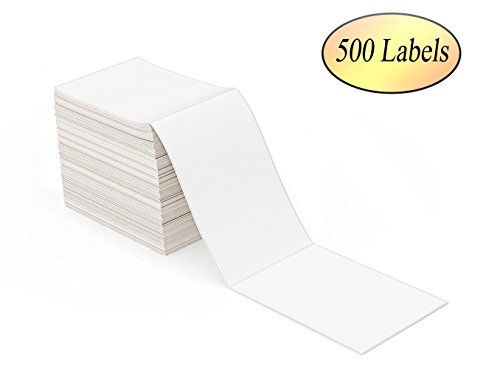 "RyhamPaper 4"" x 6"" Fanfold Direct Thermal Labels(500 Labels) - White Shipping Mailing Postage Labels, Perforated, Permanent Adhesive"