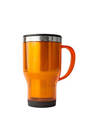 - Stainless Lined Acrylic Orange Mug with Molded Handle and Lid, Orange, 16 Ounce